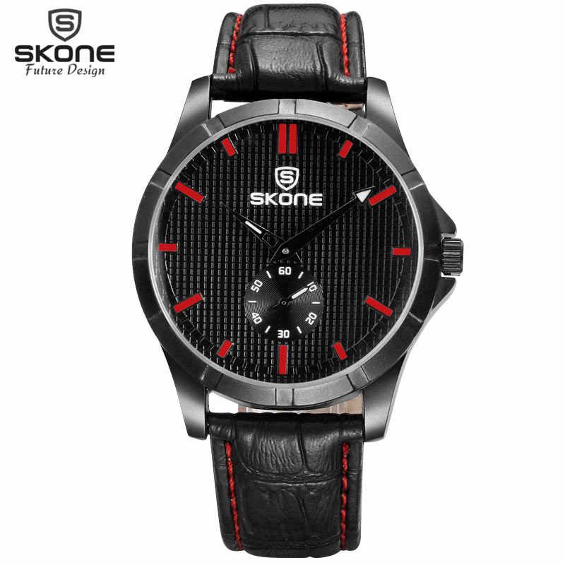 Relojes de marca SKONE Real Sub Dial para hombres reloj de estilo de negocios de moda 3D grano cara militar deporte relojes de pulsera Montres Hommes