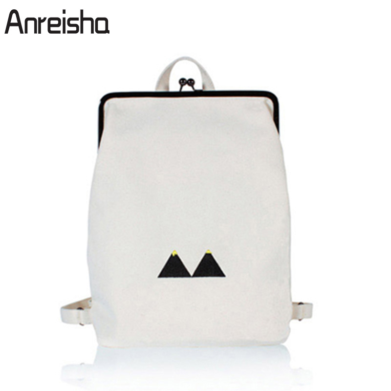 Anreisha Women Female Backpack Bag Korean Travel Backpack Black Canvas School bags Kanken Rucksack For Girls Mochila Feminina fashion women leather backpack rucksack travel school bag shoulder bags satchel girls mochila feminina school bags for teenagers