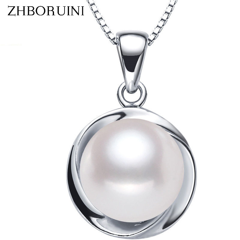 ZHBORUINI Big Pearl Necklace 3 Colors Pearl Jewelry High Quality Natural Pearl Pendant 925 Sterling Silver Jewelry For WomenZHBORUINI Big Pearl Necklace 3 Colors Pearl Jewelry High Quality Natural Pearl Pendant 925 Sterling Silver Jewelry For Women
