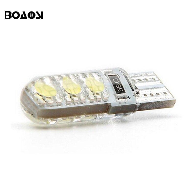 Boaosi 4X новый автомобиль водить T10 194 <font><b>W5W</b></font> <font><b>5050</b></font> + силиконовые оболочки светодиодные фонари автомобиля клина стороны света Лампа белый/синий кристал&#8230;