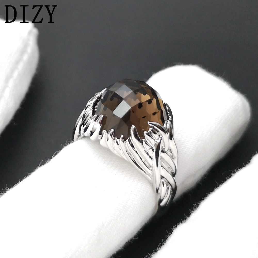 DIZY รอบ Checkboard 7.8Ct Smoky ควอตซ์แหวนเงิน 925 แหวนพลอยสำหรับผู้หญิงของขวัญงานแต่งงานแหวนเครื่องประดับหมั้น