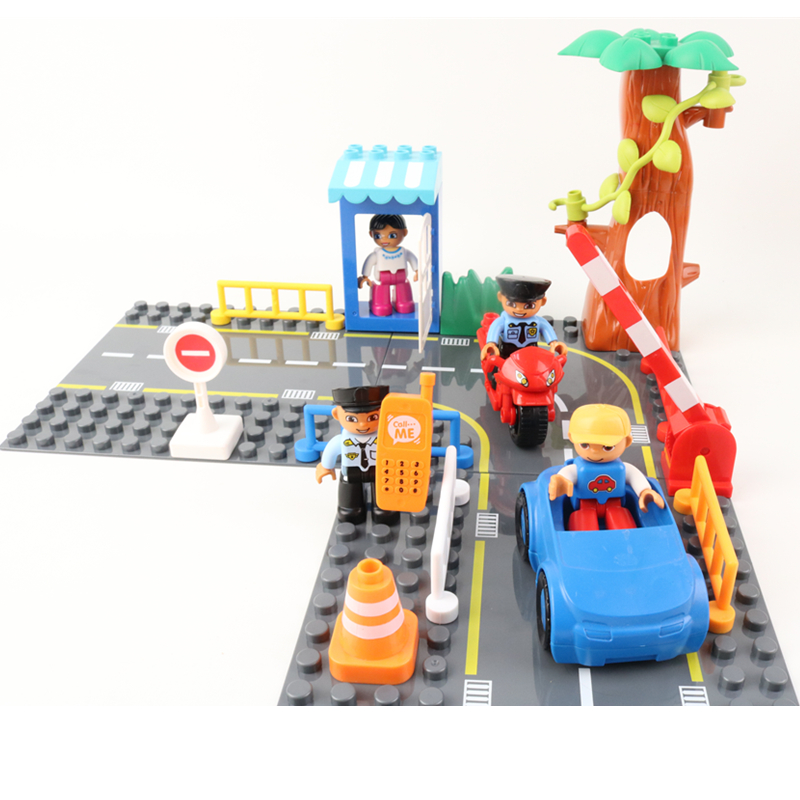 Aggressive Big Size Duploe Highway Figures Policeman Car Motorcycle Building Blocks Traffic Signs Bricks Kids Toys Compatible With Duploed To Help Digest Greasy Food