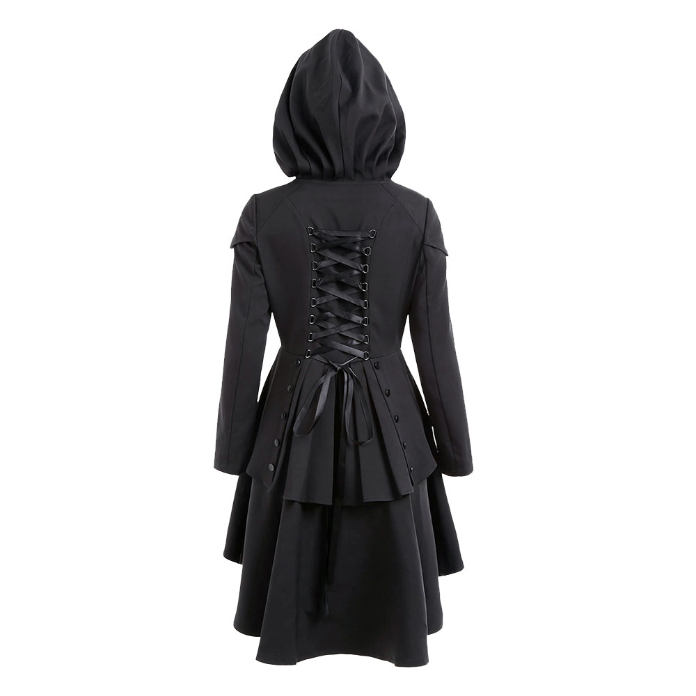 Gothic Vintage Hooded   Trench   Coat Women Autumn Casual Fashion Office Ladies Ruffle Lace Up Skinny Plus Size Long Outerwear Coats
