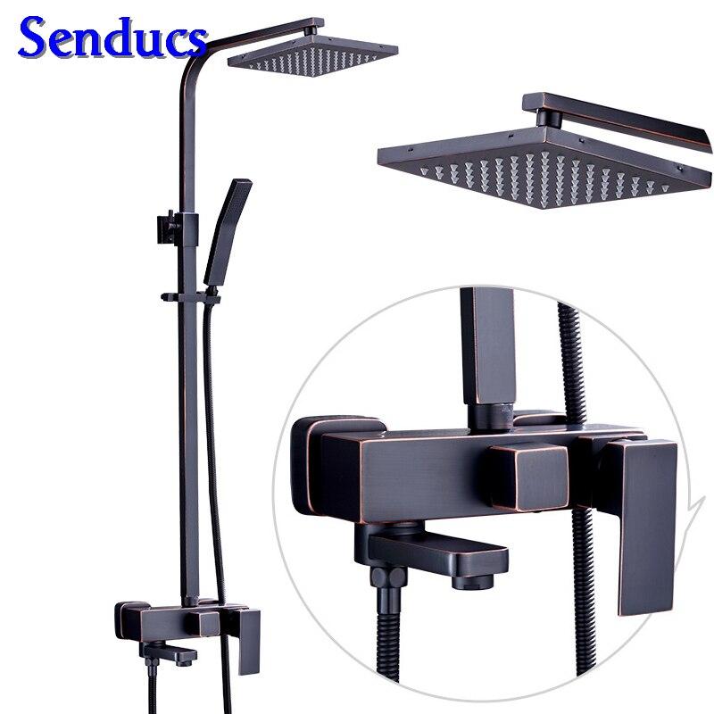Senducs Black Bronze Shower Set Hot Sale Hot Cold Black Bathroom Shower Faucet for Luxury Quality Black Bronze Shower Set