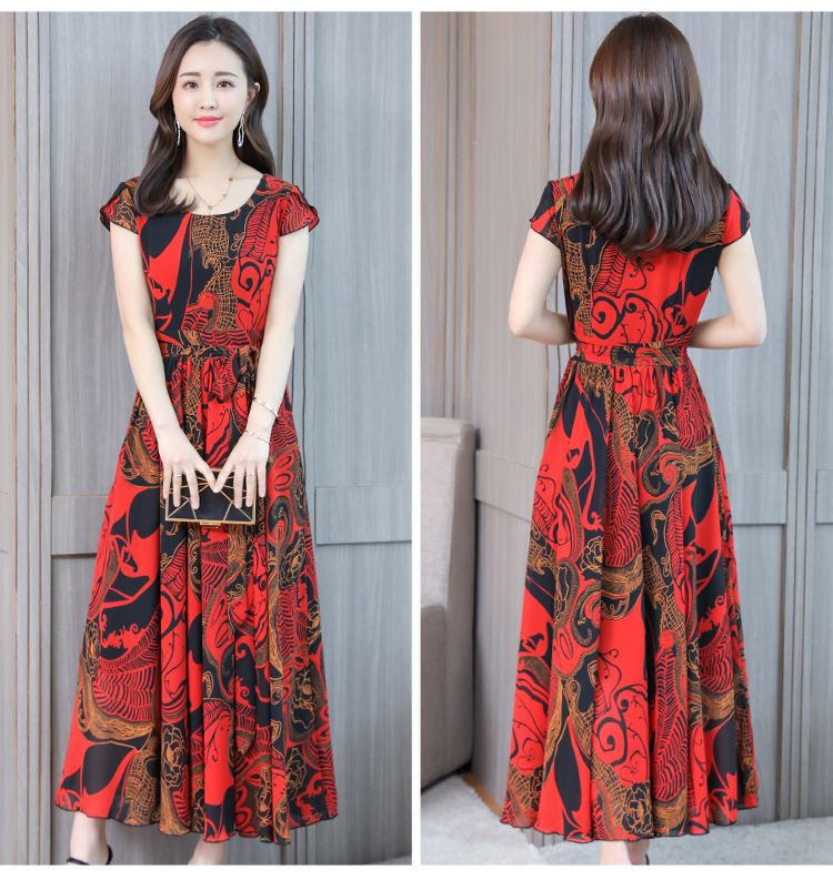 Boho Dress Bohemian Summer for Women Plus Size 4XL Short Sleeve Vintage Chiffon Maxi Floral Office Formal Dress Women Elegant4