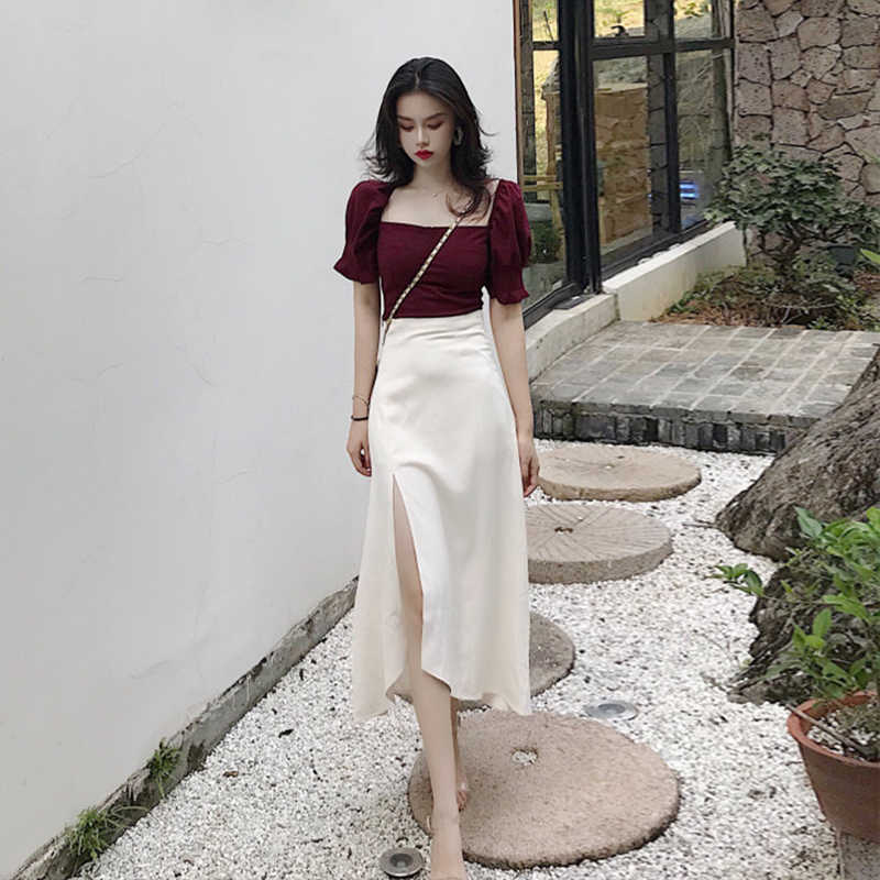Spring Summer Two Piece Set Women Clothes 2019 Korean Vintage Elegant Women Two Piece Outfits Tops + Skirt Ensemble Femme ZT2673