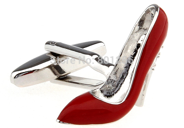 Gratis frakt Kvinnor Manschettknappar röd färg högklackad sko design koppar material män manschettknappar whoelsale & detaljhandel