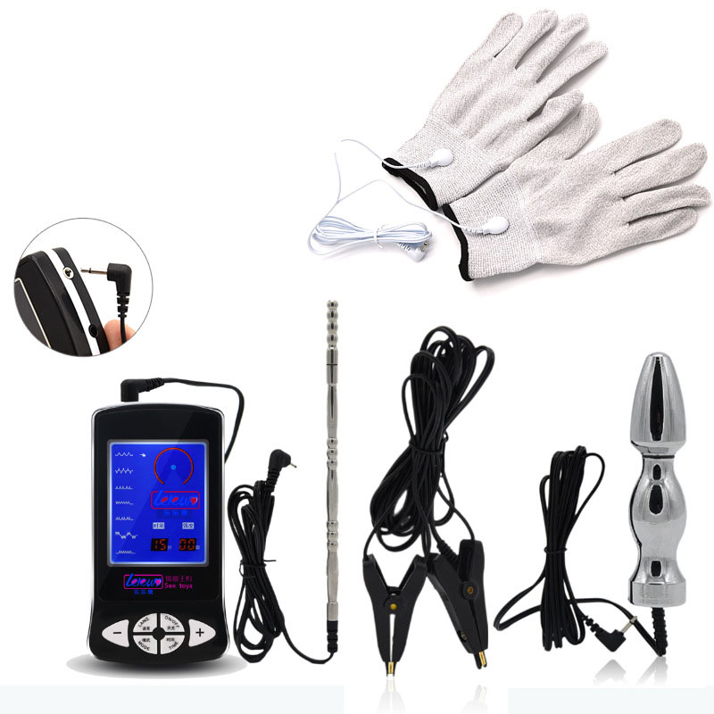 Electro Shock Kit Anal Plug Butt Plug Penis Plug Nipple Clamps Gloves Sex Toys For Men Women Adult Games sextoy electro for men sex tools for sale 3 pcs set electro shock nipple clamps anal plug breast stimulation massage sextoys adults for men and women
