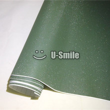 High Quality Army Green Bling Sand Diamond Vinyl Sticker Sheet Bubble Free Phone Laptop Ipad Sticker Cover Size:1.52*30M