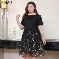 Black Embroidery party Dresses 2019 Summer Office Lady Women Casual Dress Plus Size 6XL 8XL 10XL Vintage elegant Dress MS77