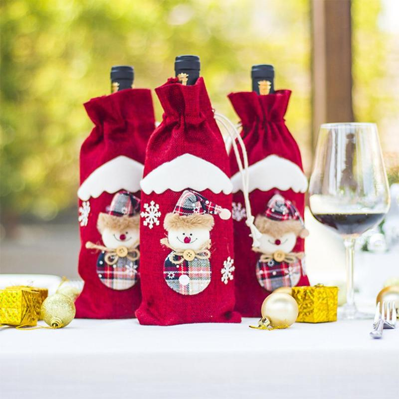 566213fa4b9ea Christmas Wine Bottle Cover Red Wine Gift Bags set Champagne Xmas Home  Dinner party Table Decoration Snowman Design Holder-in Wine Bottle Covers  from Home ...