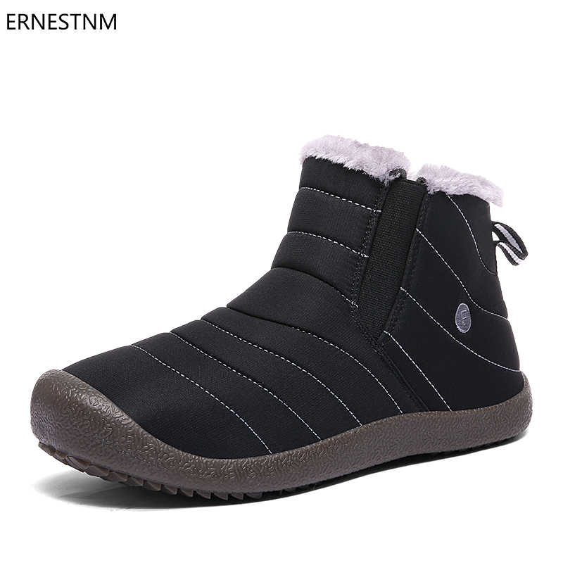 ERNESTNM 2018 Winter Woman Shoes Ankle Boots for Women Waterproof Plush  Inside Solid Color Snow Boots cf9ea58fa69