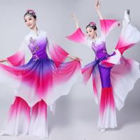 Gradient ancient chinese costume hanfu dress stage dance wear women Lyrical stage costume oriental dance costumes purple