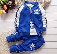 Venta CALIENTE de algodón 0-2 años de los bebés recién nacidos y bebés que arropan el sistema 3 unid/set (T-t-shirt + coat + pants) traje ropa de bebé