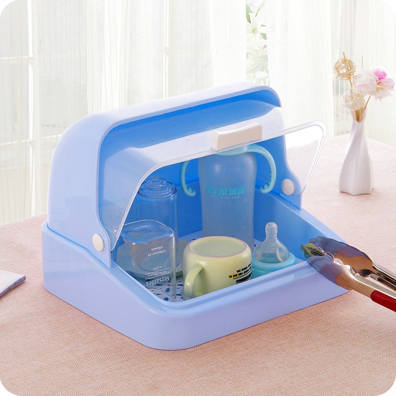 New Arrival Transparent plastic baby feeding bottle dryer rack drainer glass dishes sideboard Storage Box Organizer with lid