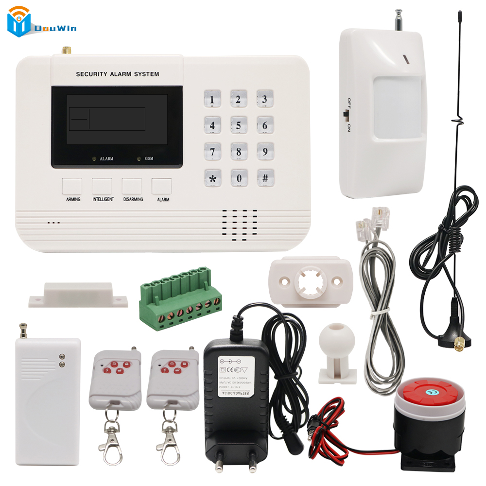 Wireless door sensor Home Security Wifi camera Metal Remote Control Voice Prompt GSM PSTN Alarm systems LCD Smart House DouWin gsm alarm systems kit remote control voice prompt wireless door sensor lcd display siren kit security alarm for home office