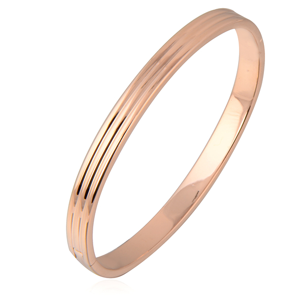 Rose Gold Plated Oval Plain Smooth Womens Ladies Openable Bangle