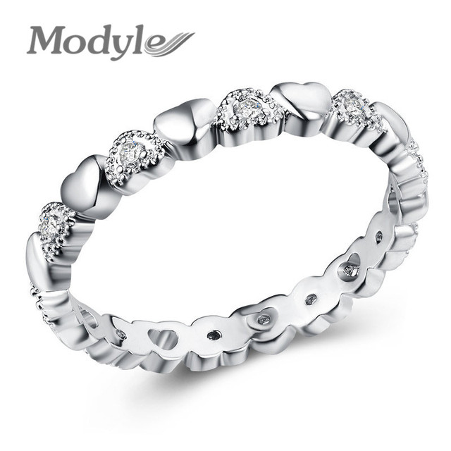 Modyle 2019 de Moda de Nova Prata Cor Empilhável Anel de Coração CZ Branco Anéis de Dedo para As Mulheres Do Aniversário de Casamento Jóias