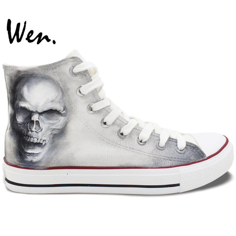 ФОТО Wen Hand Painted Shoes Design Custom Skull Zombie Men Women's High Top Canvas Sneakers for Christmas Gifts