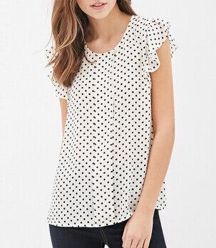 Summer Women Blouses New Print shirts Casual Women Top ruffles sleeve Blue Polka Dot Blouses summer style For Women