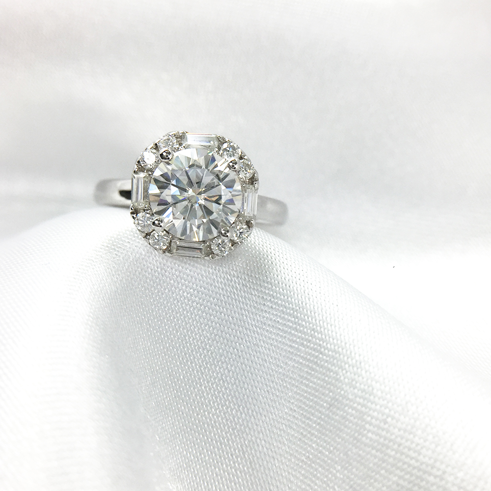 1 Carat ct 6.5mm Round Cut Engagement&Wedding Moissanite Diamond Ring Double Halo Ring Genuine 14K 585 White Gold
