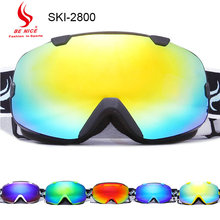 Be nice brand  Anti-fog skiing goggle UV 400  double lens Eye wear Sports Protective Safety Skiing Goggle Black strap SKI-2800