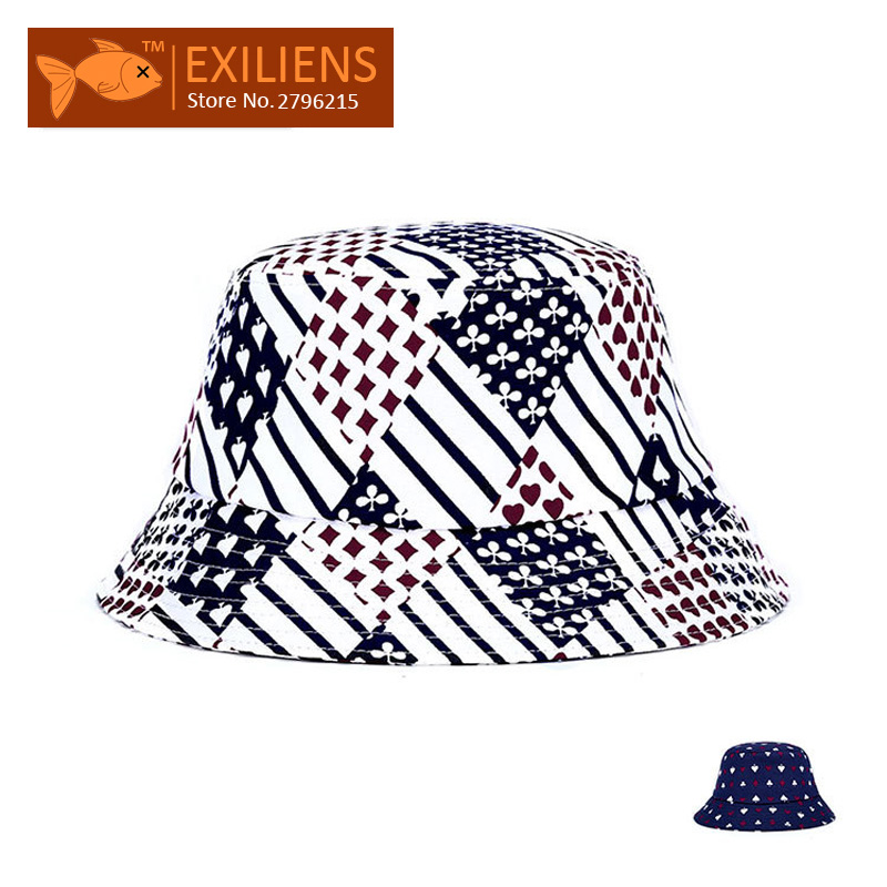 EXILIENS  2017 Fashion Brand Bucket Hats Cotton Poker New Casual Fisherman  Caps Hip hop Hats For Men Women Lovely Colors Hat -in Baseball Caps from  Men s ... cd2c371d8be2