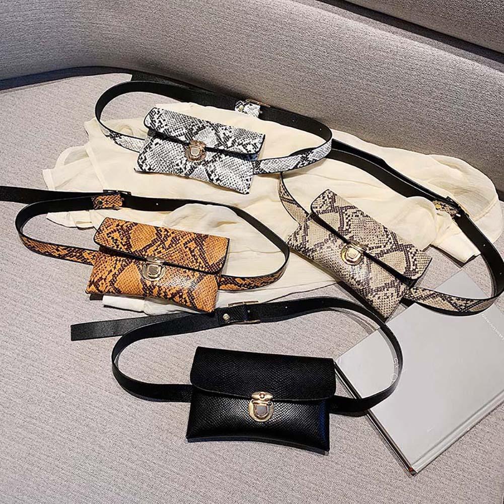 Women Snakeskin Leather Chest Bag Belt Waist Pack Mini Phone Holder Sports Chest Waist Bag Snake Skin Purse