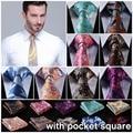 "Floral Stripe 3.4 ""de la Boda de Seda Jacquard Hombres Corbata del lazo Pocket Square Pañuelo Set Suit EFD"
