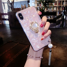 Conch Shell Marble Phone Case For OPPO Reno R19 R15 R15X K1 K3 A7 A5 A3 A3S F7 F9 A83 Bling Diamond Soft Ring Holder Cover Coque