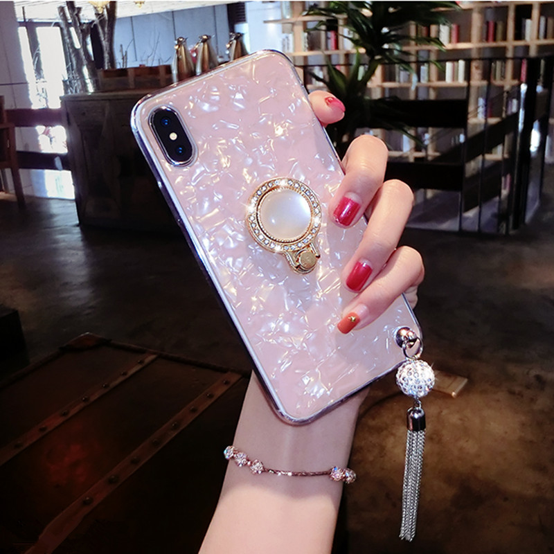 Conch Shell Marble Phone <font><b>Case</b></font> For <font><b>OPPO</b></font> Reno R19 R15 R15X K1 K3 A7 A5 A3 A3S <font><b>F7</b></font> F9 A83 Bling Diamond Soft Ring Holder Cover Coque image