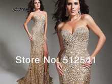 WOW Prom Dress 2013 New Fashion TOP Grade Sheath Sweetheart Satin Beads Sequin Front Spilt MK08A50