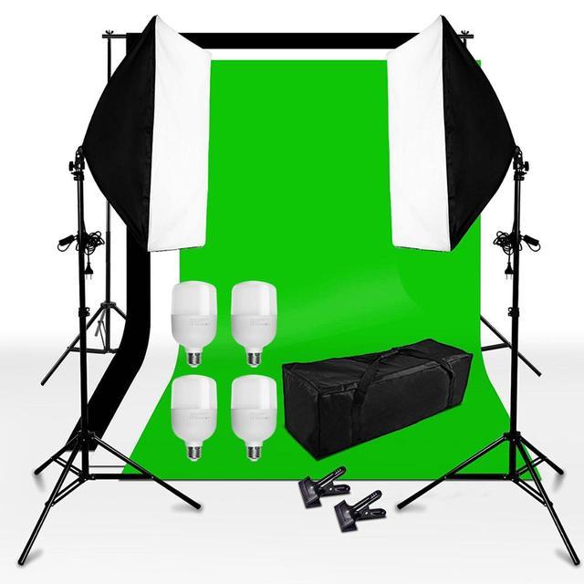ZUOCHEN Kit de iluminación de estudio Kit de caja difusora, 2 Softbox + 3 fondos + 6,5x6,5 pies, Kit de soporte de fondo + 4x25W bombilla LED