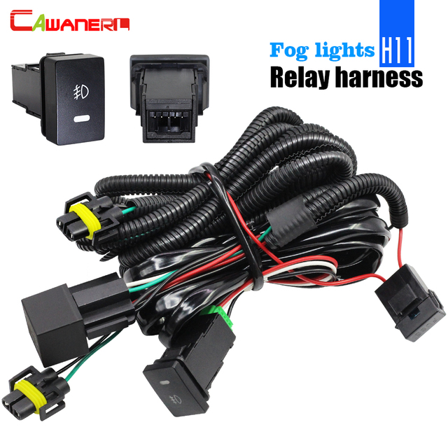cawanerl car fog light wiring harness h11 socket wire + switch with led  indicators at relay 40a for ford renault citroen peugeot