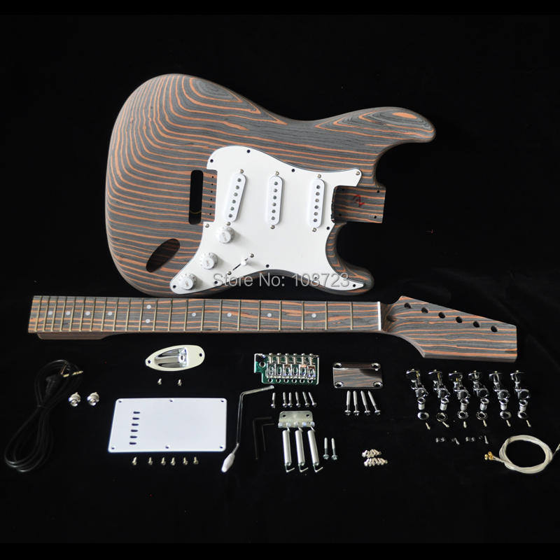 DIY Electric Guitar Kit with Zebrawood Body Zebra Wood Neck and Fingerboard 22 Fret S S S Pickups Builder Kits electric guitar gwarem st guitar zebrawood body and neck with gold hardwareguitar in china