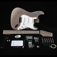 DIY Electric Guitar Kit with Zebrawood Body Zebra Wood Neck and Fingerboard 22 Fret S S S Pickups Builder Kits