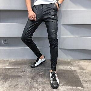 Image 2 - ¡Novedad! pantalones de cuero PU para hombre, pantalones de chándal informales ajustados para hombre, pantalones bombachos Hip Hop con cordón, pantalones bombachos para hombre 40