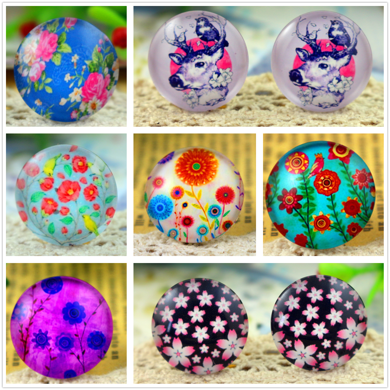 10pcs/lot 20mm Handmade Tree Flowers Photo Glass Cabochon Jewelry Finding Fit 20mm Cameo Setting Supplies For Jewelry Components