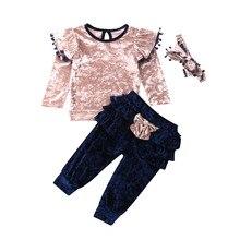 Комплекты осенней одежды для маленьких девочек, Бархатные Топы с рюшами и бантом, длинные штаны, комплект одежды из 3 предметов, От 1 до 6 лет