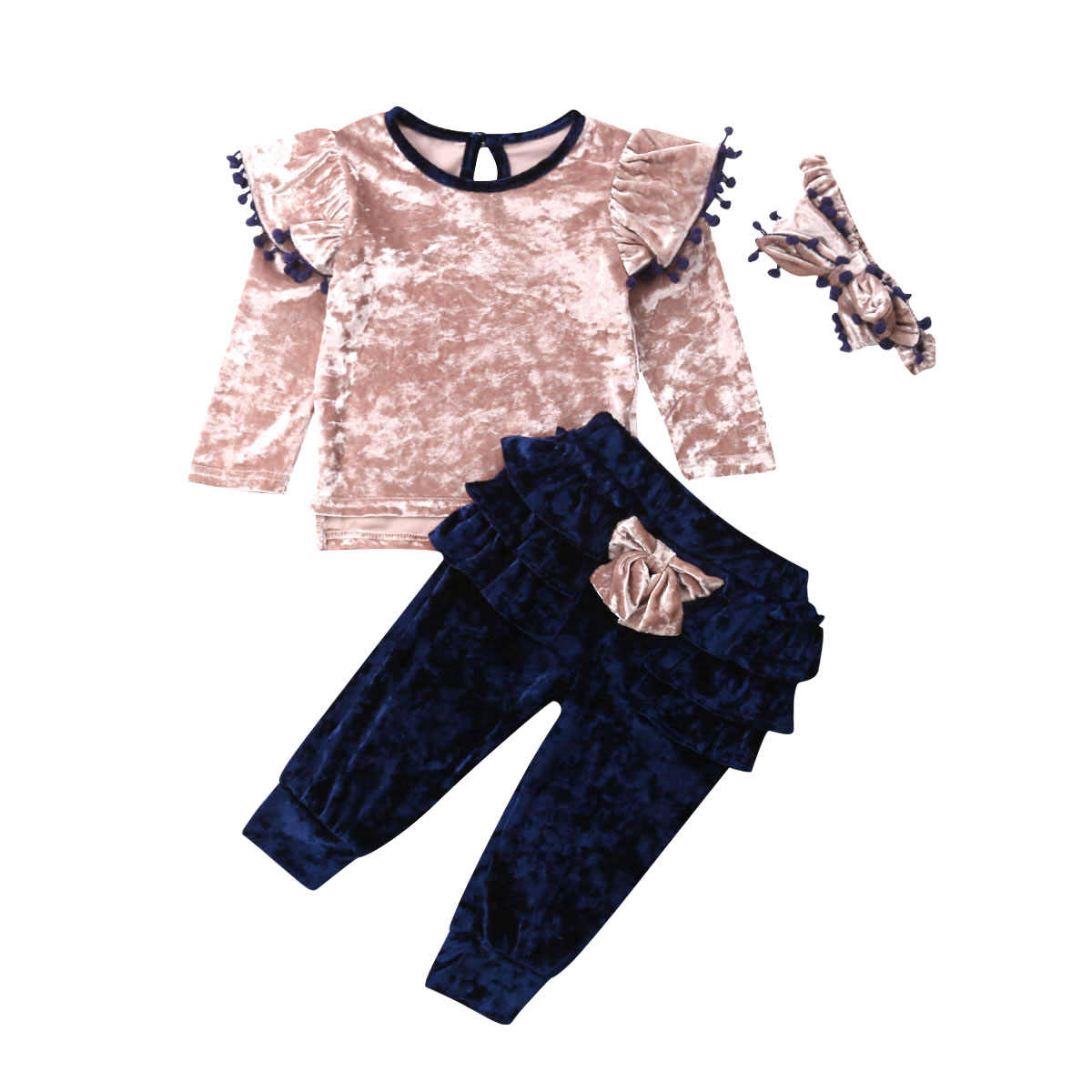 Toddler Kids Baby Girl Autumn Clothes Sets Velvet Ruffle Bow Tops Long Pants 3Pcs Outfit Set 1-6Y