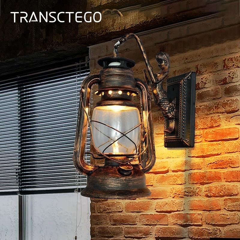 Wall lamps Indoor Lighting Vintage Antique Bar lights Sconces kerosene lantern aisle stairs loft lampara pared murale Wall lamps
