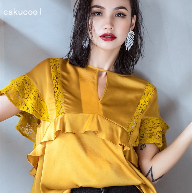 9ae283e50bb774 Cakucool New Designer Short Sleeve Women Blouse Shirt Yellow Satin Faux  Silk Top Blusa Ruffles Lace