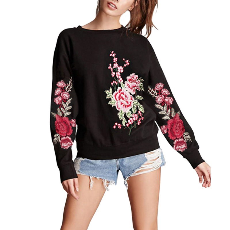 Always Fashion Shop Autumn Winter New Hoodies Sweatshirts Fashion Floral Embroidery Women Long Sleeve O neck Pullover Sweatshirts Casual Overcoat
