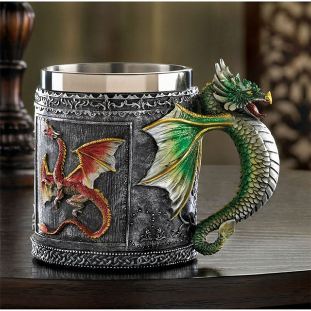 Double Wall Stainless Steel 3D Skull Mugs Fly Dragon Drinking Mug Cup Home Office Table Decor Geek Coffee Cup Christmas Gift 4