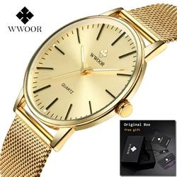 2018 WWOOR Relogio Masculino Mens watches Top Brand Luxury Full Gold Stainless Steel Male Clock Man Wrist Watch Zegarki Meskie