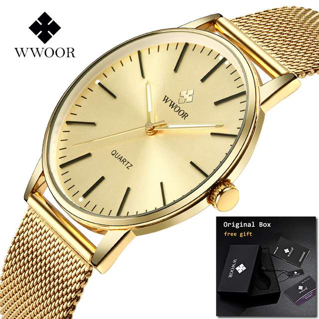 2019 WWOOR Relogio Masculino Mens watches Top Brand Luxury Full Gold Stainless S