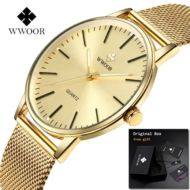 Reloj de pulsera para hombre 2019 WWOOR reloj para hombre marca superior de lujo de oro completo de acero inoxidable hombre reloj de pulsera Zegarki Meskie