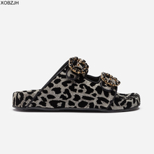 Flat Sandals Women Summer Shoes 2019 D Brand Slip On Luxury leopard Mature Ladies Black G Slippers Designer Woman