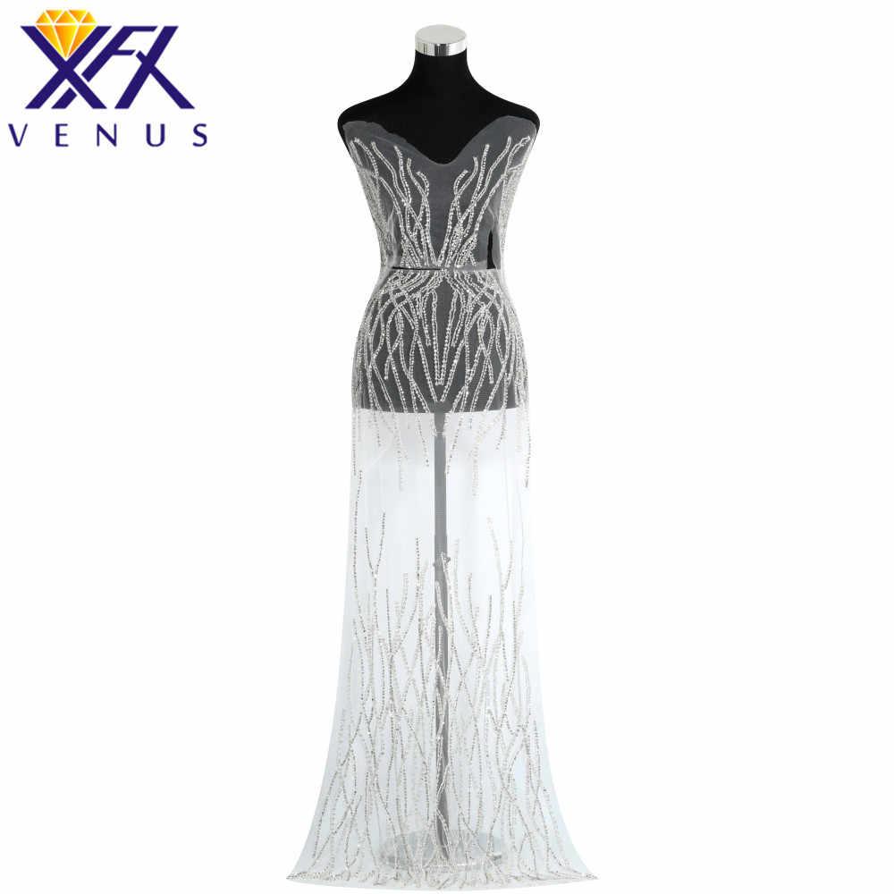 XINGFNAGXIU Rhinestones Sequins Beads Applique Crystals Decorative Patches  Bridal Long Trim Dress for Evening Prom Dress 9e8e161f0144