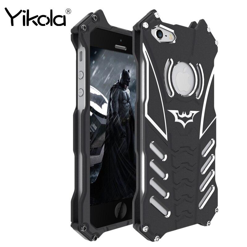 R-Juste Batman Cas D'armure Pour l'iphone 5 5S 5C Couverture 6 6 S Plus de luxe En Aluminium En Métal Coque Capinhas Cas Pour iPhone 7 8 Plus X Cas